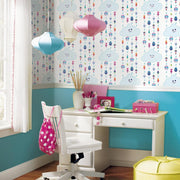 Trolls Clouds Peel and Stick Wallpaper roomset