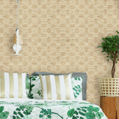 Coastal Trellis Peel & Stick Wallpaper roomset