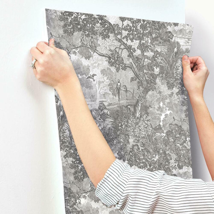 Removable Jungle Toile Peel and Stick Wallpaper