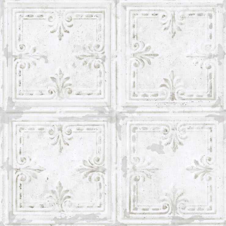 Tin Tile Peel and Stick Wallpaper white
