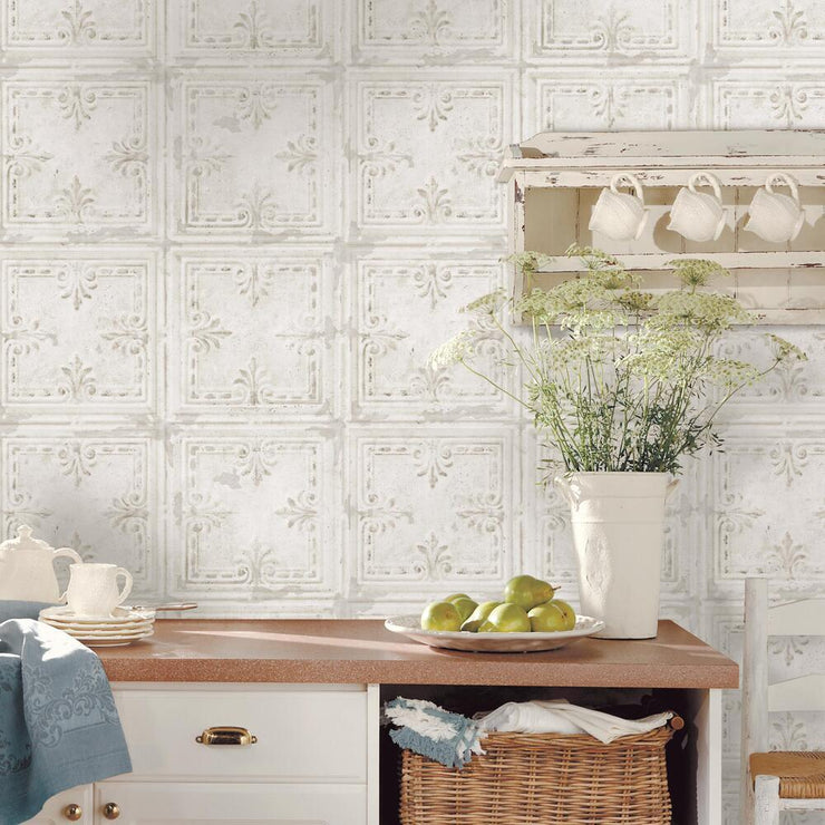 Tin Tile Peel and Stick Wallpaper white roomset 2