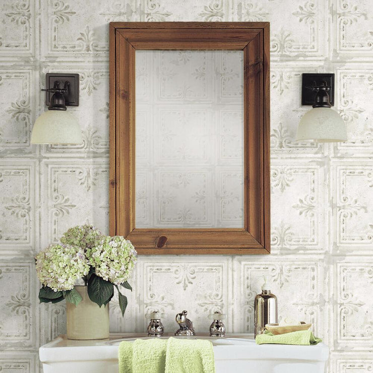 Tin Tile Peel and Stick Wallpaper white roomset 3