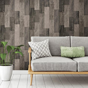 RMK11210WP Black Weathered Wood Plank Peel And Stick Wallpaper RS2