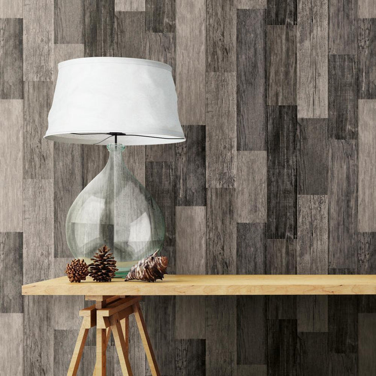 RMK11210WP Black Weathered Wood Plank Peel And Stick Wallpaper RS3