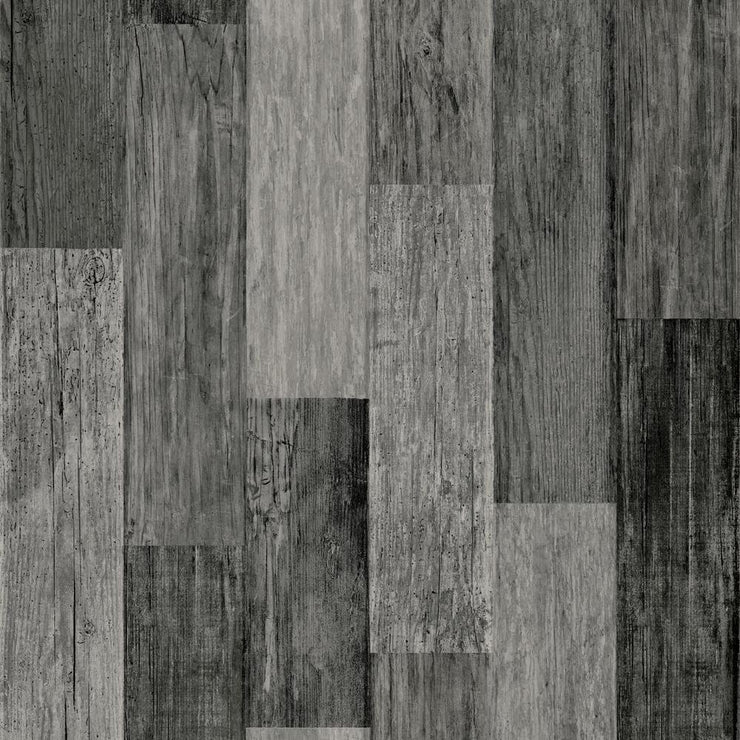 RMK11210WP Black Weathered Wood Plank Peel And Stick Wallpaper