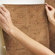 Tin Tile Peel and Stick Wallpaper copper hang