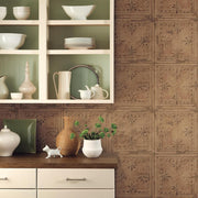 Tin Tile Peel and Stick Wallpaper copper roomset 2