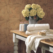 Tin Tile Peel and Stick Wallpaper copper roomset 3