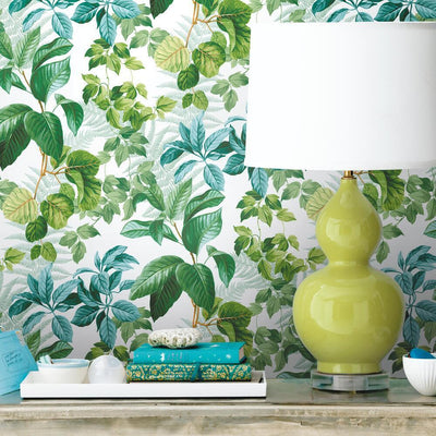 Rainforest Leaves Peel and Stick Wallpaper green