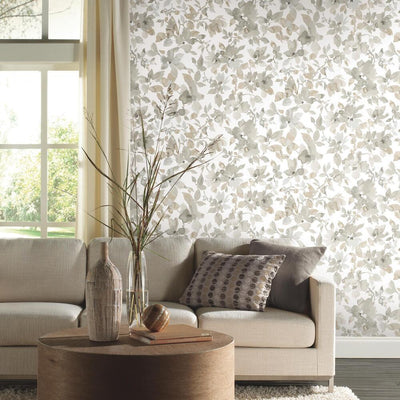 Watercolor Floral Peel and Stick Wallpaper neutral roomset 2