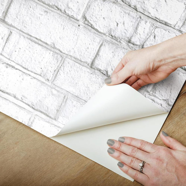 RMK11237WP White Brick Peel And Stick Wallpaper Is Removable