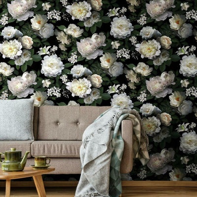 Black Photographic Floral Peel and Stick Wallpaper roomset