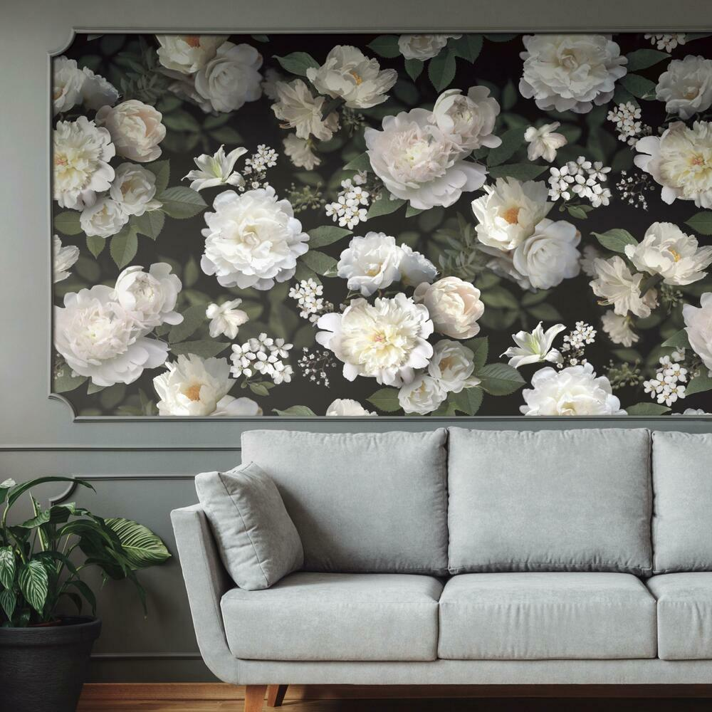 Black Photographic Floral Peel And Stick Mural Roommates Decor