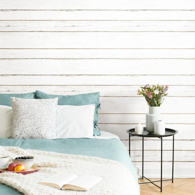 White Shiplap Peel and Stick Wallpaper roomset