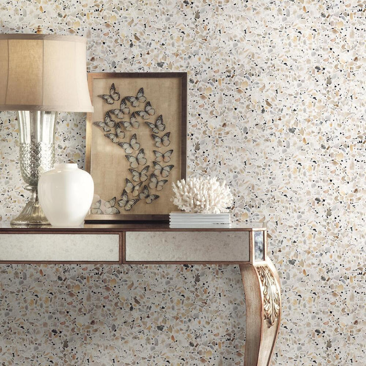 Terrazzo Peel and Stick Wallpaper multicolor roomset 3