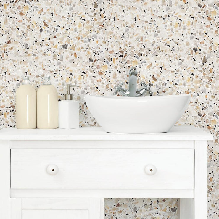 Terrazzo Peel and Stick Wallpaper multicolor roomset