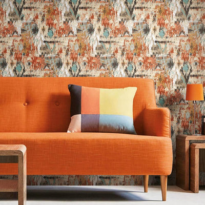 Aztec Peel and Stick Wallpaper orange roomset