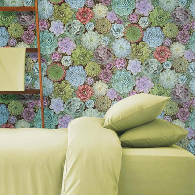 Succulents Peel and Stick Wallpaper roomset 1