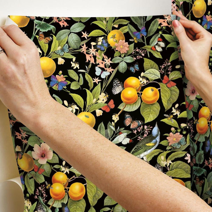 Citrus Peel and Stick Wallpaper hang