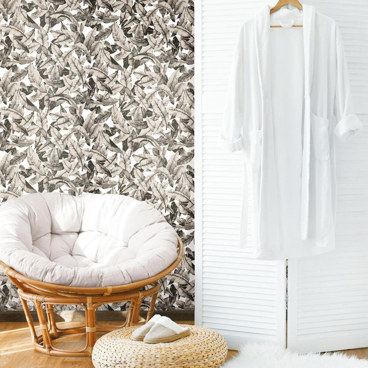 Palm Peel and Stick Wallpaper tan roomset