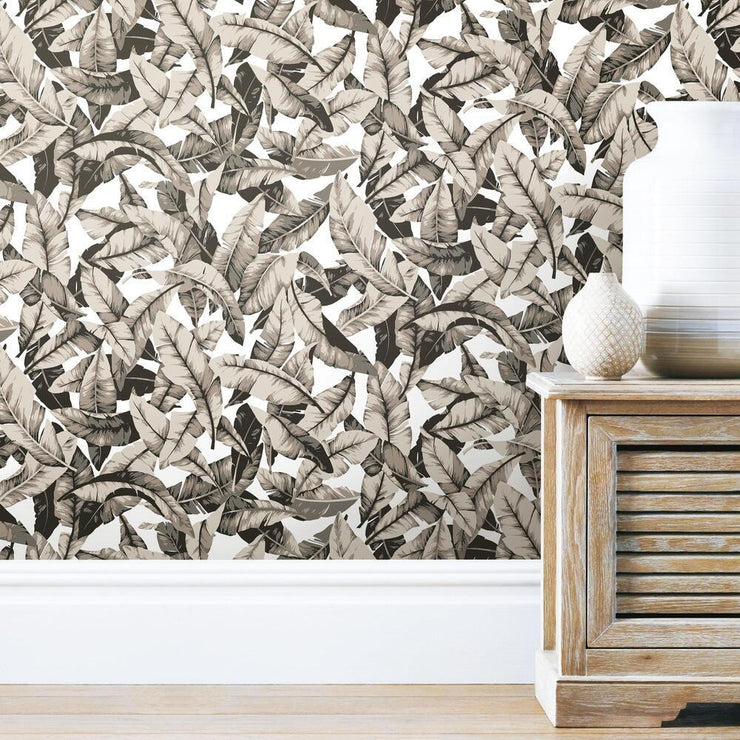 Palm Peel and Stick Wallpaper tan roomset 3