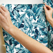 Palm Peel and Stick Wallpaper blue roomset hang