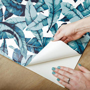 Palm Peel and Stick Wallpaper blue peel