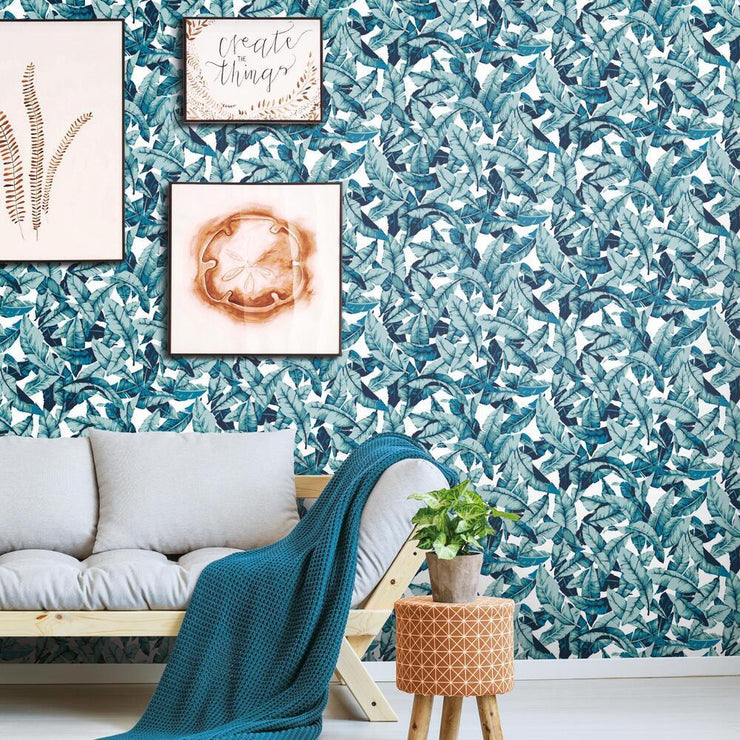 Palm Peel and Stick Wallpaper blue roomset