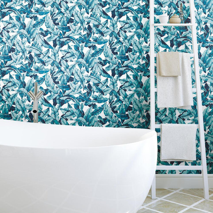 Palm Peel and Stick Wallpaper blue roomset 2