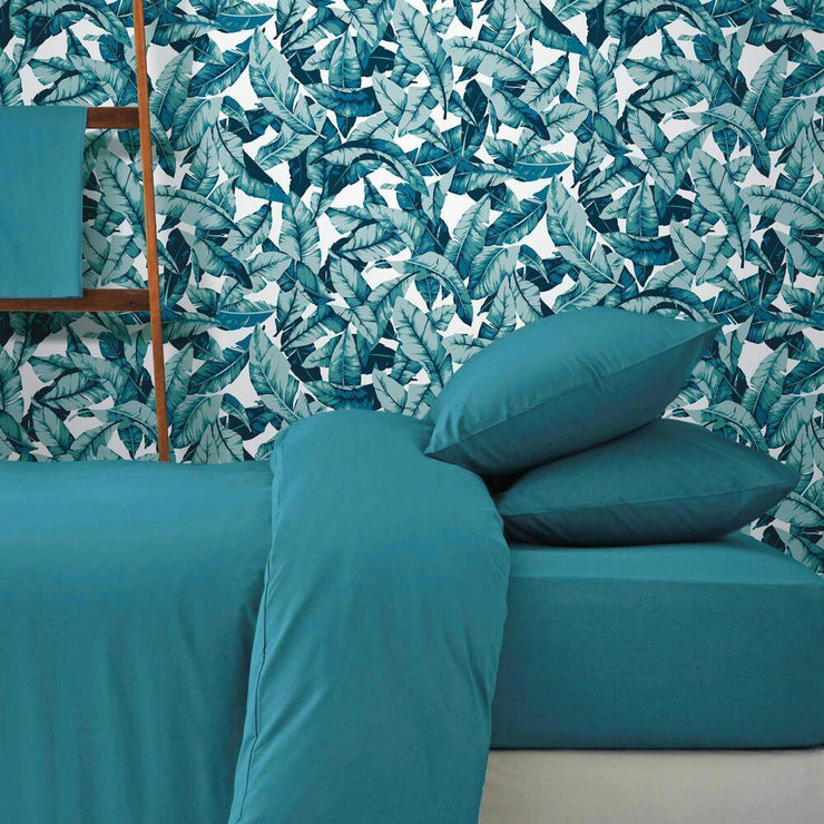 Palm Peel and Stick Wallpaper blue roomset 4