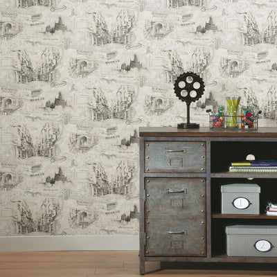 Harry Potter Map Peel and Stick Wallpaper roomset