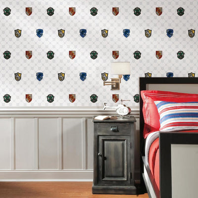 Harry Potter House Crest Peel and Stick Wallpaper roomset