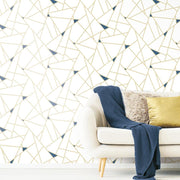 Fracture Peel and Stick Wallpaper gold roomset