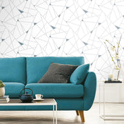 Fracture Peel and Stick Wallpaper teal roomset