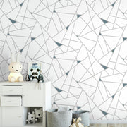 Fracture Peel and Stick Wallpaper teal roomset 5