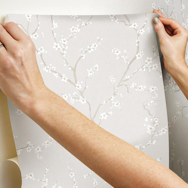 Cherry Blossom Peel and Stick Wallpaper gray hang