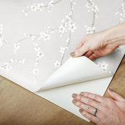 Cherry Blossom Peel and Stick Wallpaper gray peel