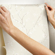 Cherry Blossom Peel and Stick Wallpaper beige hang