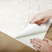 Cherry Blossom Peel and Stick Wallpaper beige peel