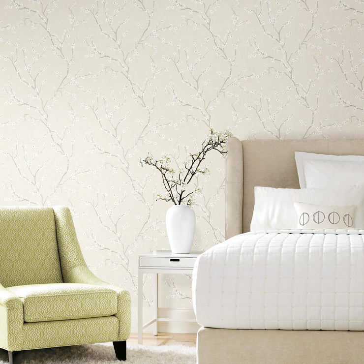 Cherry Blossom Peel and Stick Wallpaper beige roomset