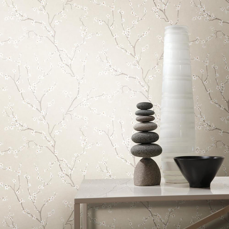 Cherry Blossom Peel and Stick Wallpaper beige roomset 4