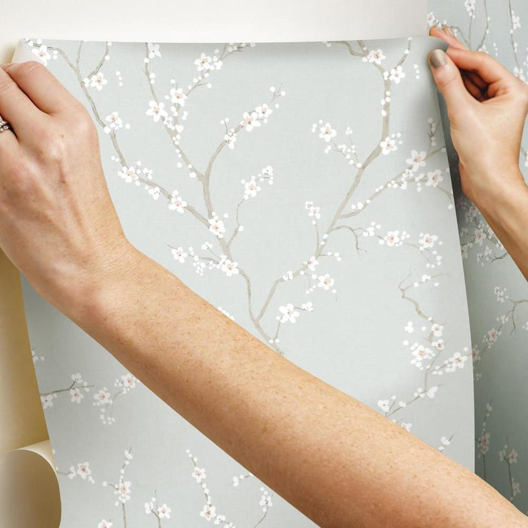 Cherry Blossom Peel and Stick Wallpaper blue hang