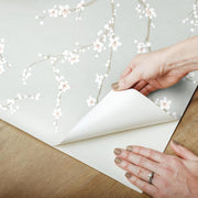 Cherry Blossom Peel and Stick Wallpaper blue peel