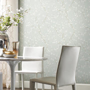 Cherry Blossom Peel and Stick Wallpaper blue roomset