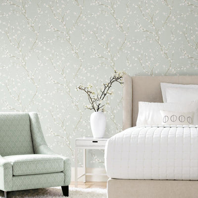 Cherry Blossom Peel and Stick Wallpaper blue roomset 2