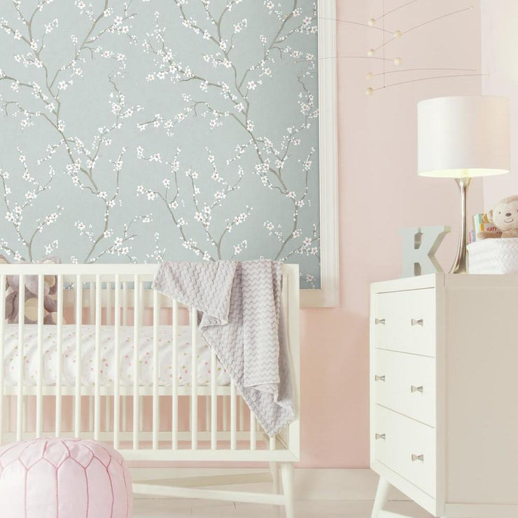 Cherry Blossom Peel and Stick Wallpaper blue roomset 5