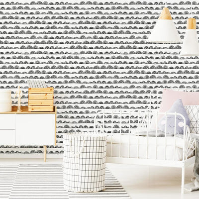 Doodle Scallop Peel and Stick Wallpaper roomset