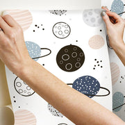 Planets Peel and Stick Wallpaper tan hang