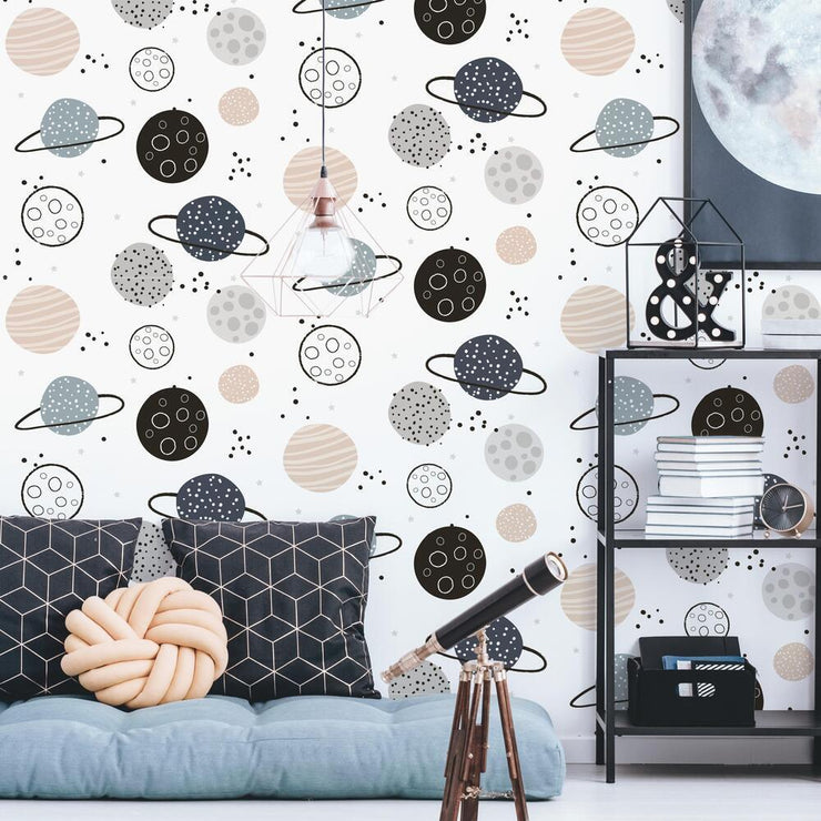 Planets Peel and Stick Wallpaper tan roomset
