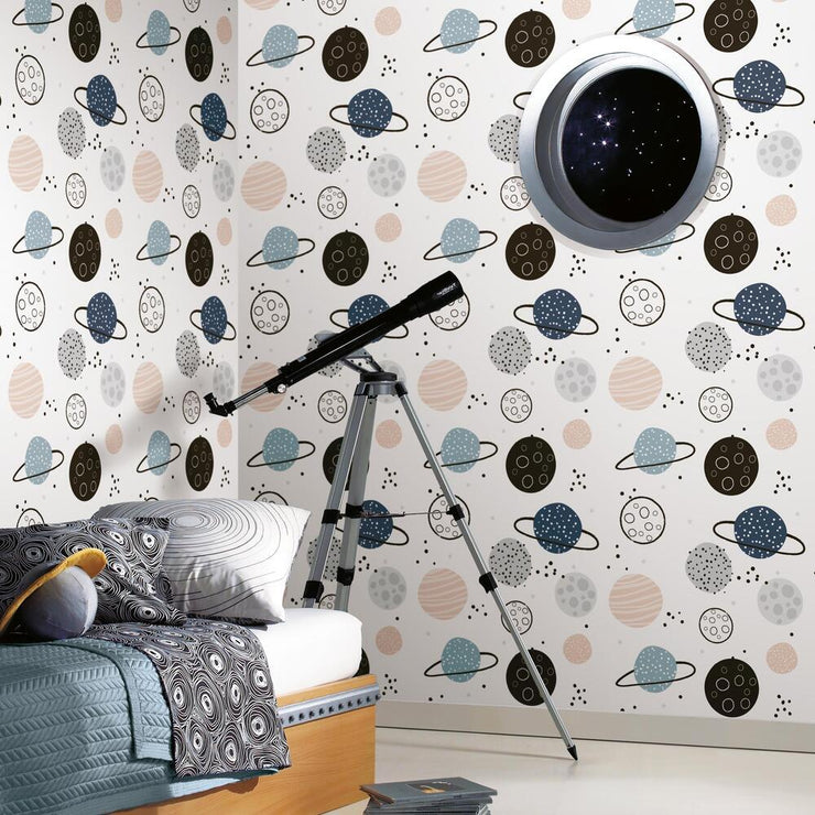 Planets Peel and Stick Wallpaper tan roomset 2